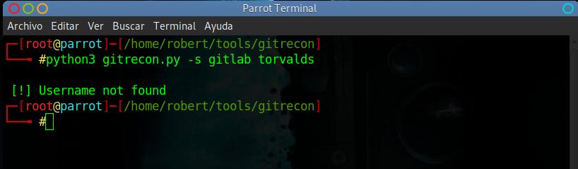 Resultados GitLab con GitRecon